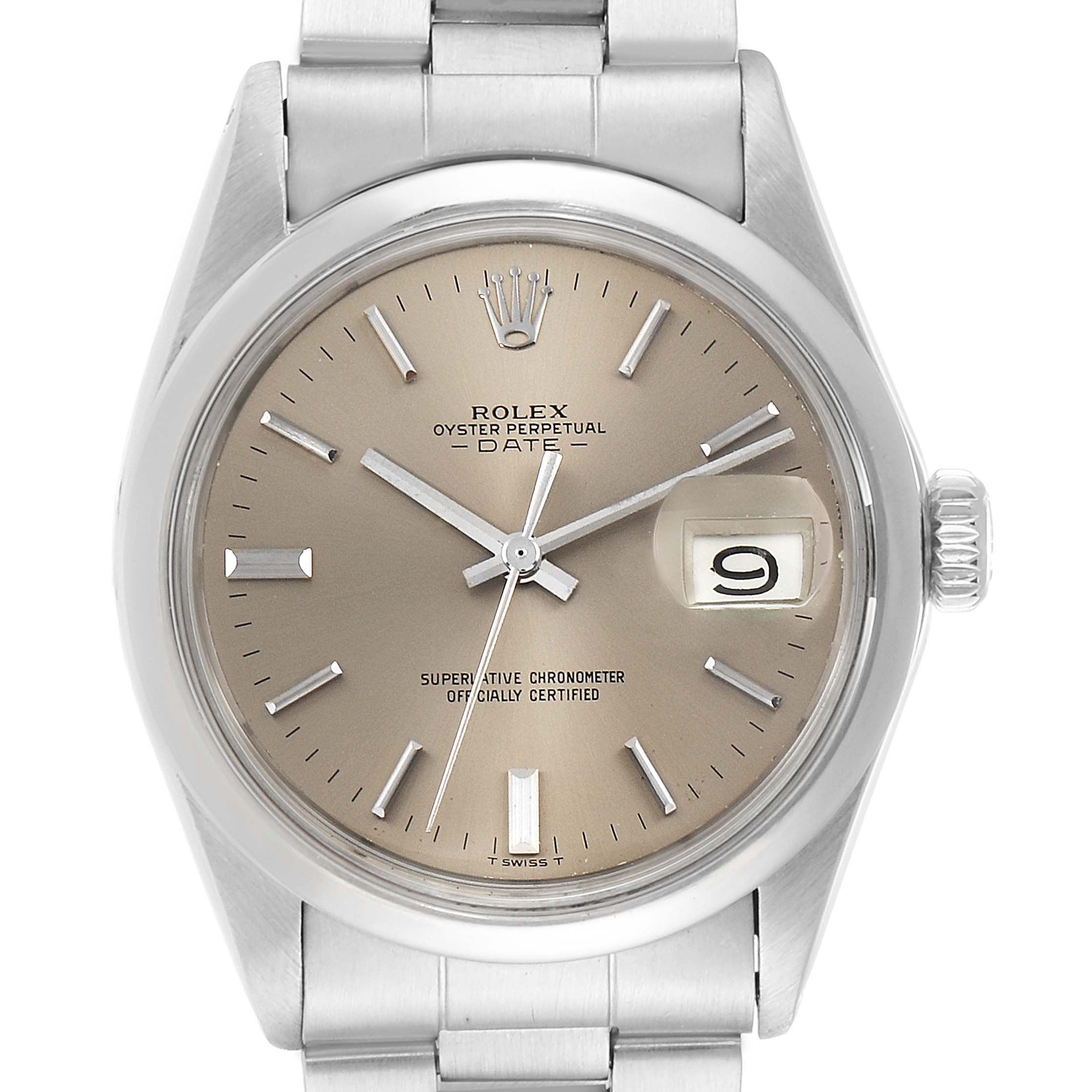Photo of Rolex Date Grey Dial Domed Bezel Vintage Mens Watch 1500