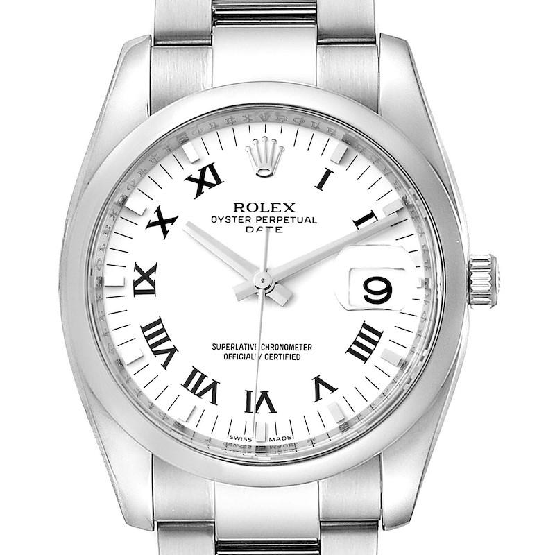 Rolex Date White Dial Oyster Bracelet Steel Mens Watch 115200 SwissWatchExpo