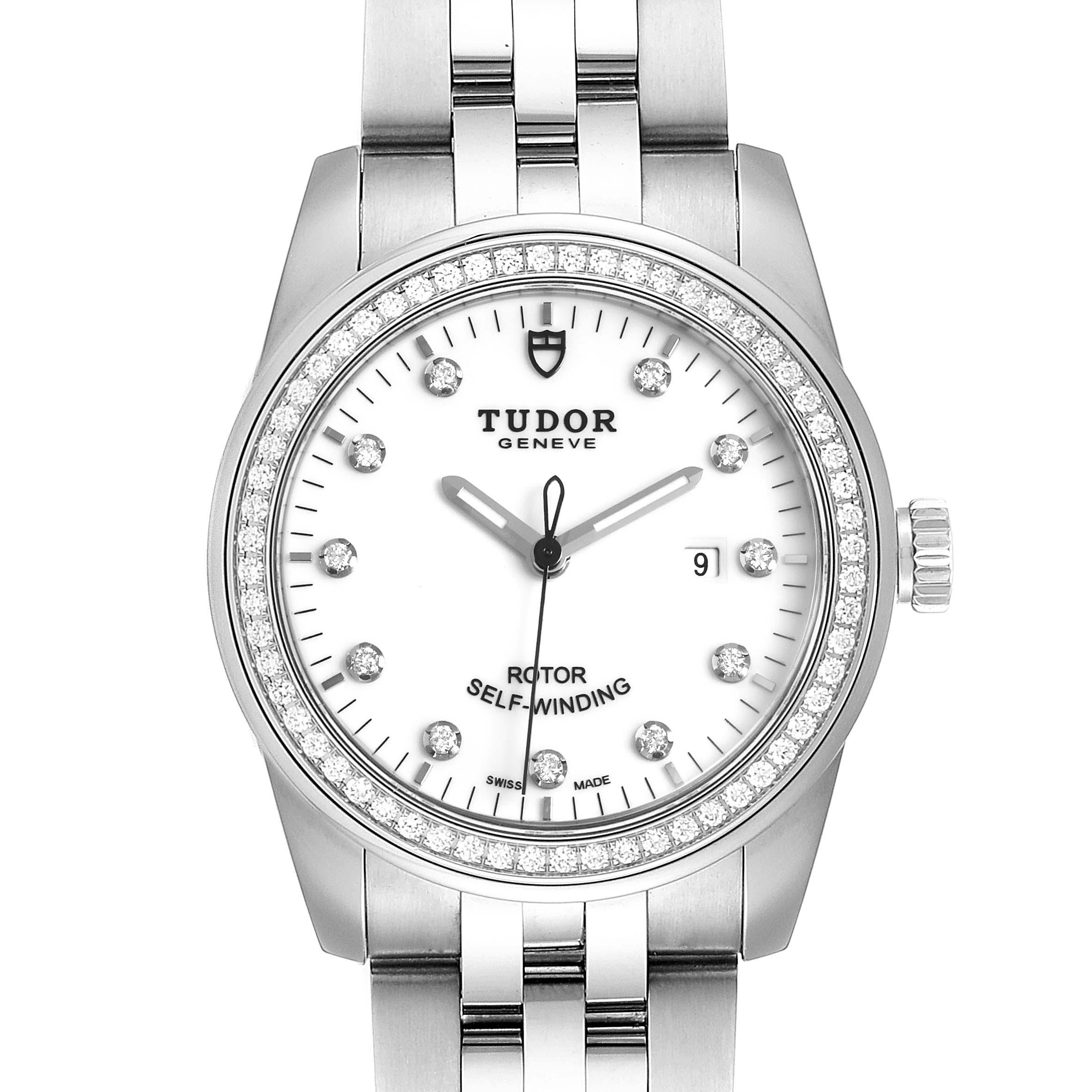 Photo of Tudor Glamour Date 31 White Dial Diamond Steel Ladies Watch M53020 Unworn