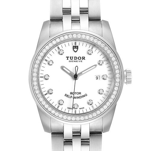 Photo of Tudor Glamour Date 31 White Dial Diamond Steel Ladies Watch M53020 Unworn