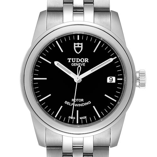 Photo of Tudor Glamour Date Black Dial Automatic Steel Mens Watch M55000 Unworn