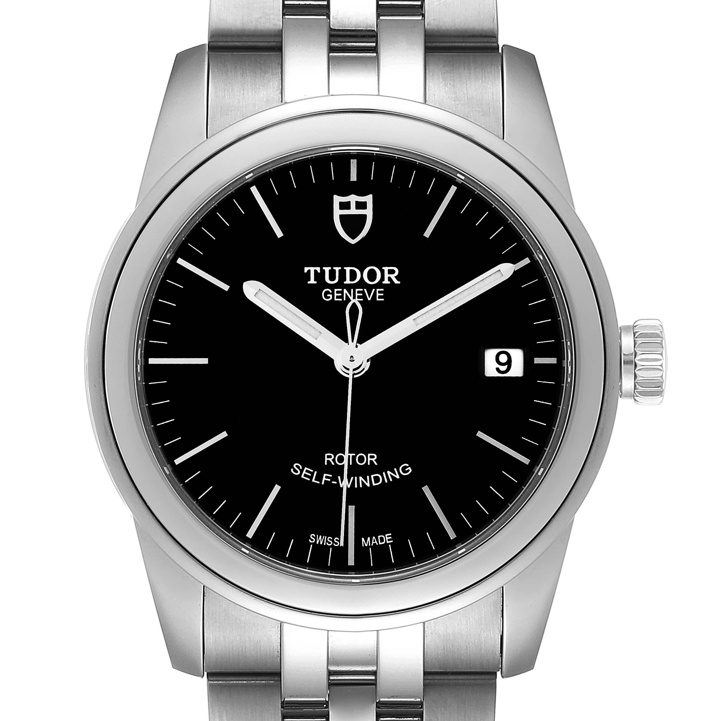 Photo of Tudor Glamour Date Black Dial Steel Mens Watch M55000 Unworn