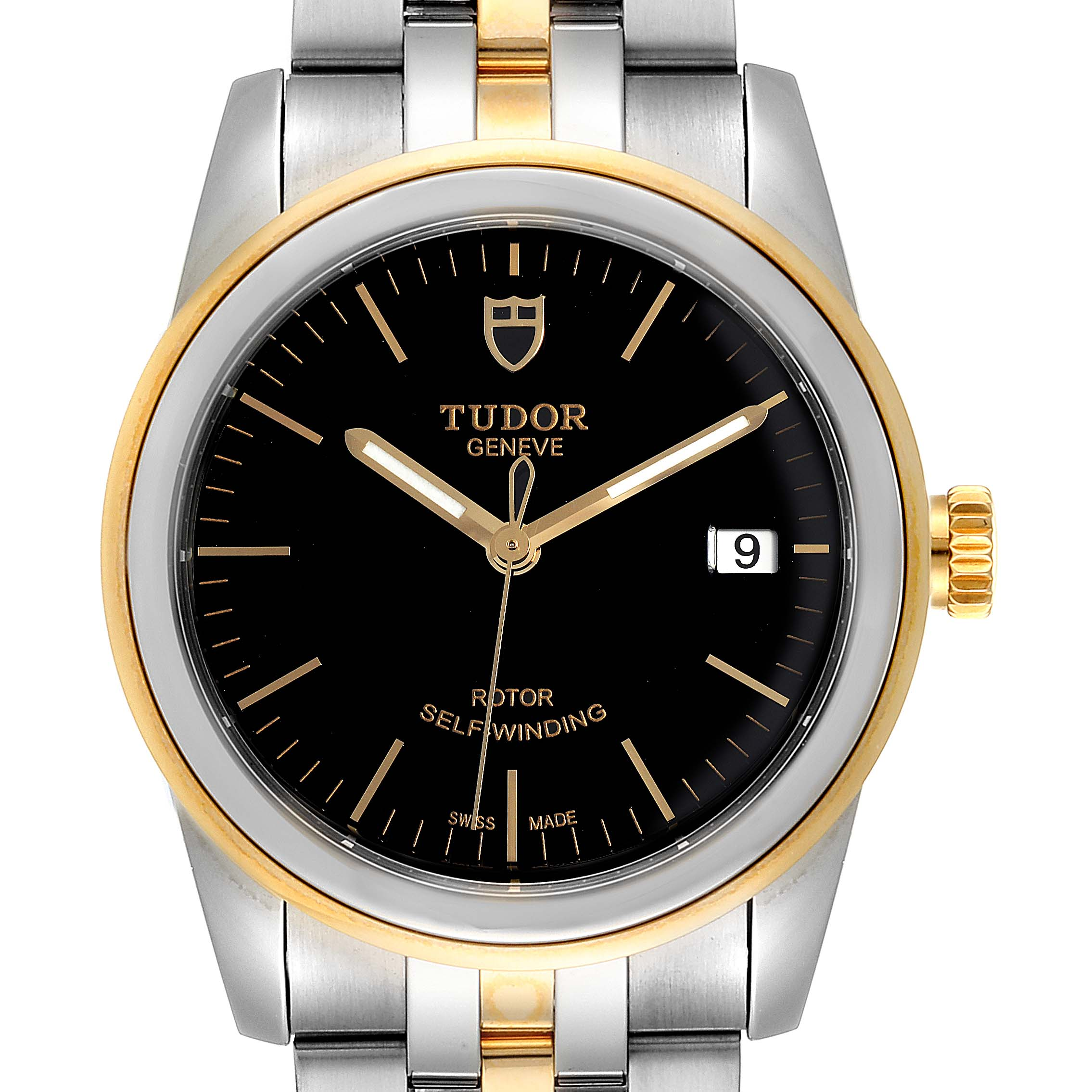 Tudor Glamour Date Black Dial Steel Yellow Gold Mens Watch 55003 Unworn