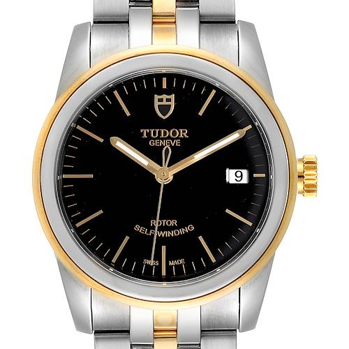 Photo of Tudor Glamour Date Black Dial Steel Yellow Gold Mens Watch 55003 Unworn
