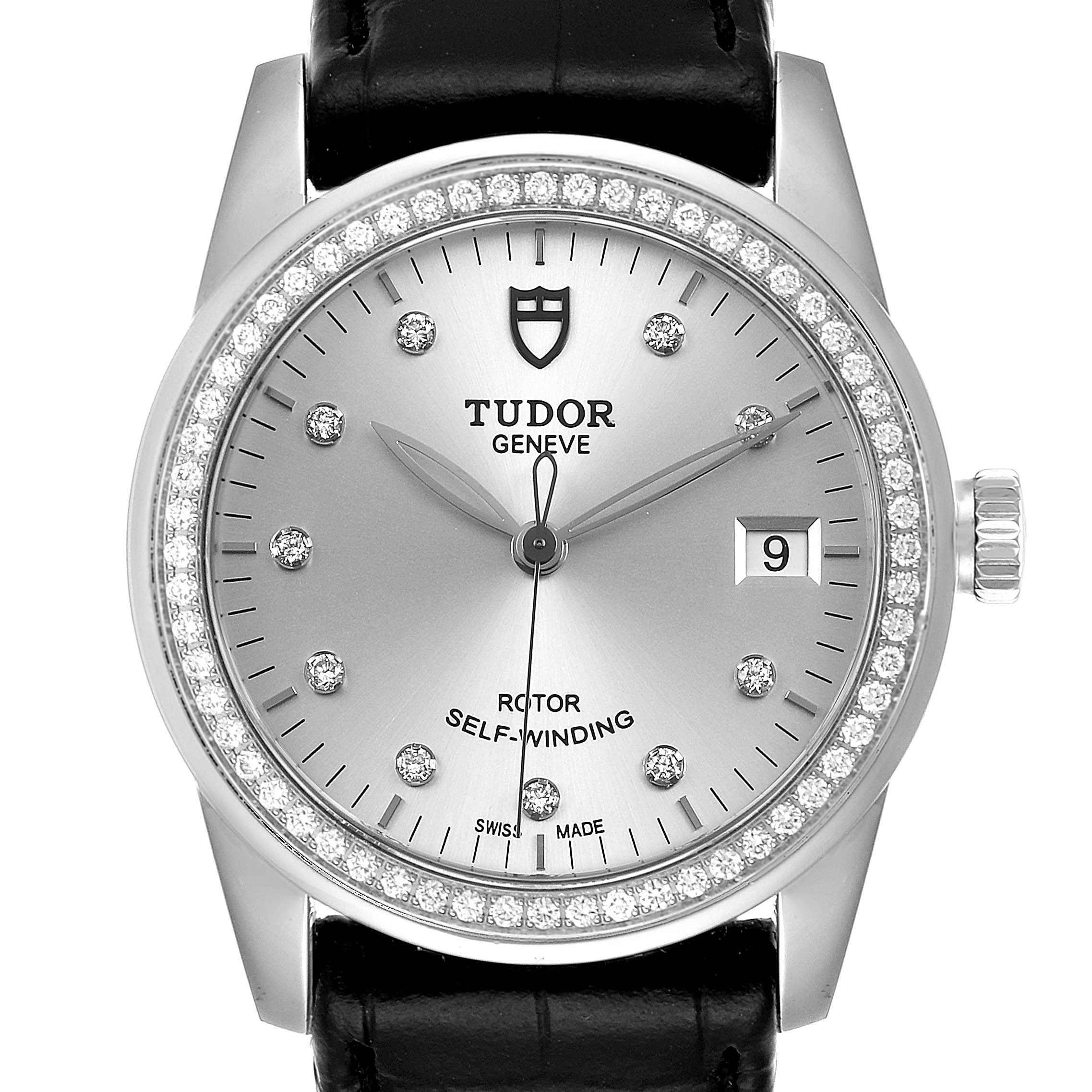 Photo of Tudor Glamour Date Silver Dial Diamond Steel Mens Watch M55020 Unworn