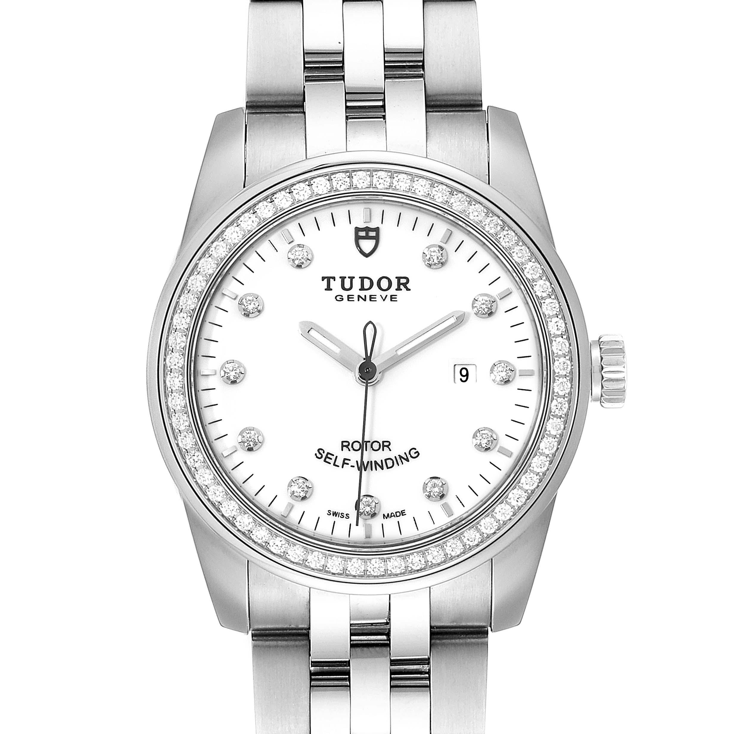 Photo of Tudor Glamour Date White Dial Diamond Steel Ladies Watch M53020 Unworn