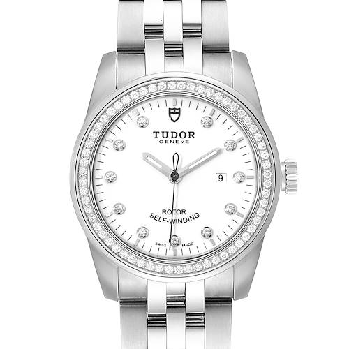 Photo of Tudor Glamour Date White Dial Diamond Steel Ladies Watch M53020 Unworn