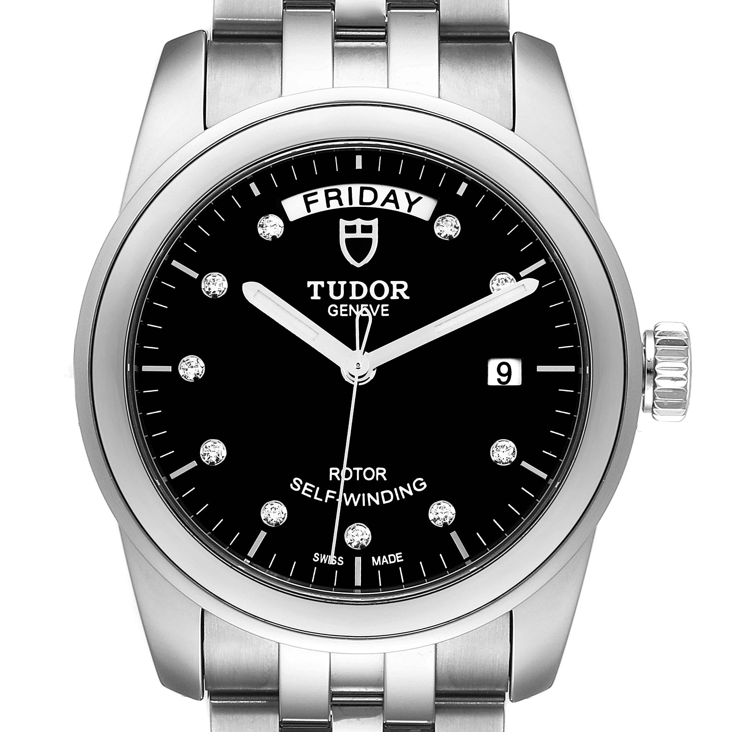 Photo of Tudor Glamour Day Date Steel Diamond Mens Watch 56000 Unworn