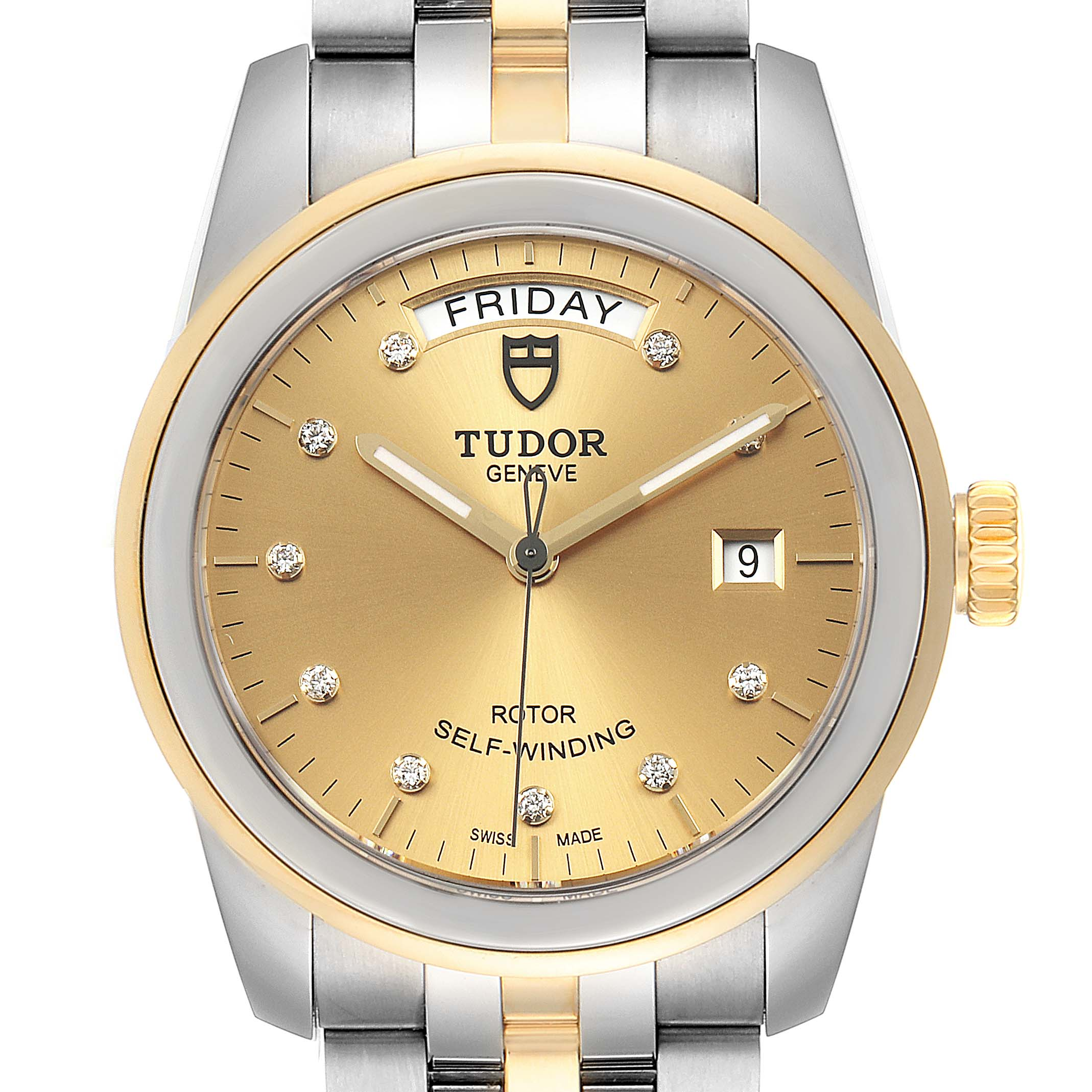 Photo of Tudor Glamour Day Date Steel Yellow Gold Diamond Mens Watch 56003 Unworn