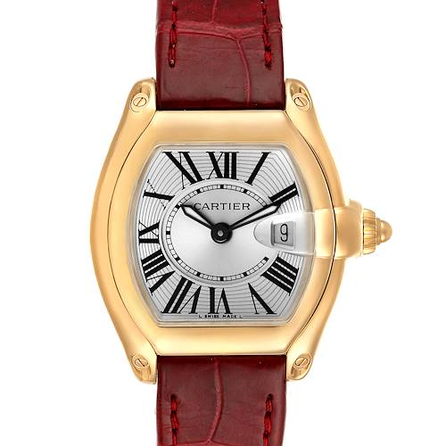 Photo of Cartier Roadster Yellow Gold Burgundy Strap Ladies Watch W62018Y5 Box Papers