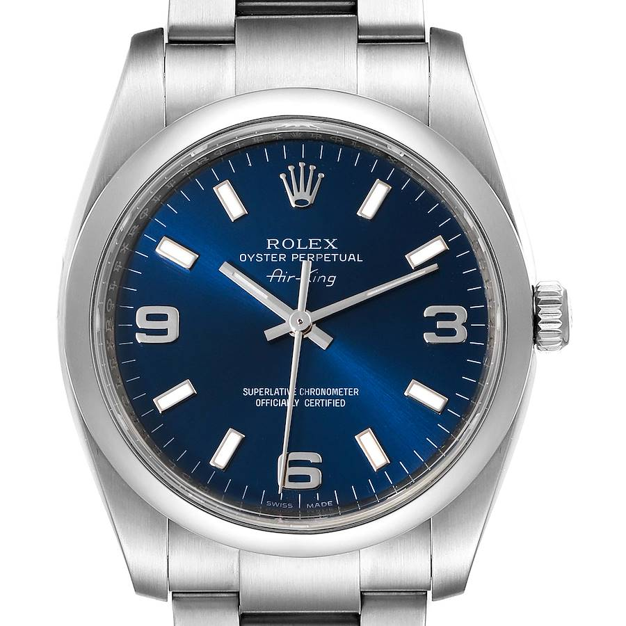 Rolex Air King 34 Blue Dial Smooth Bezel Unisex Watch 114200 Box Card SwissWatchExpo