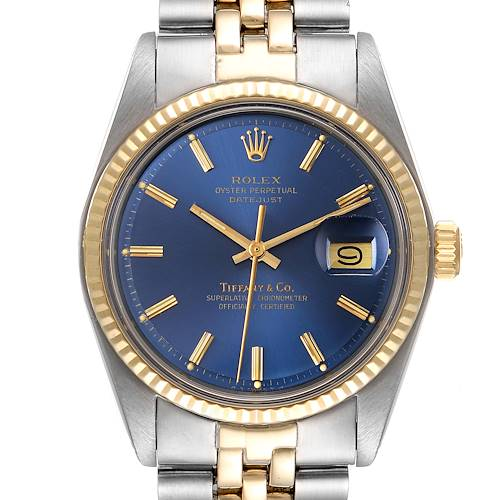 Photo of Rolex Datejust Steel Yellow Gold Blue Tiffany Dial Vintage Mens Watch 1601