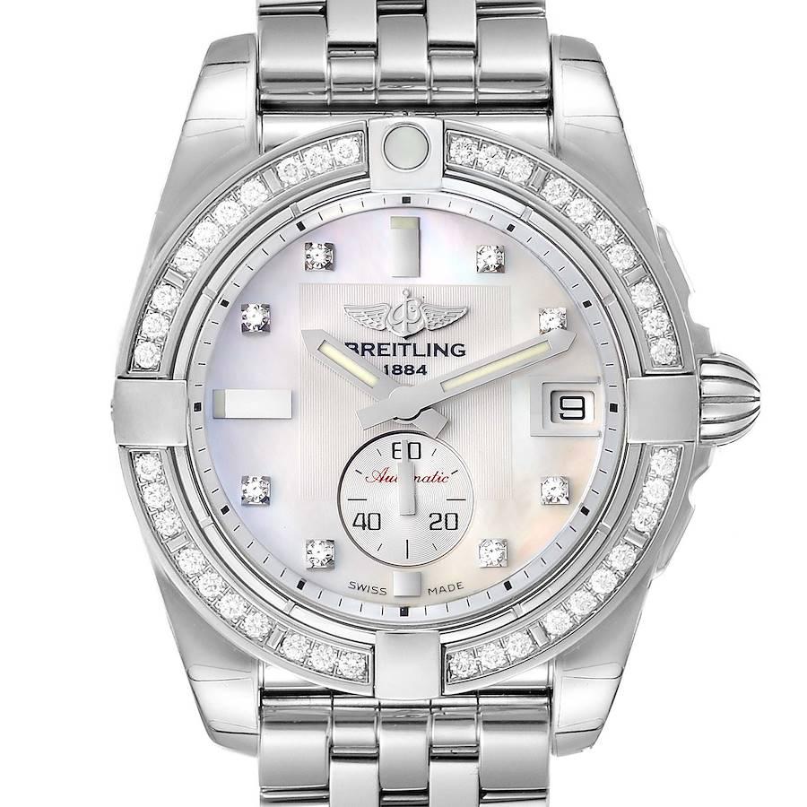 Breitling Galactic 36 MOP Dial Diamond Steel Ladies Watch A37330 Unworn SwissWatchExpo