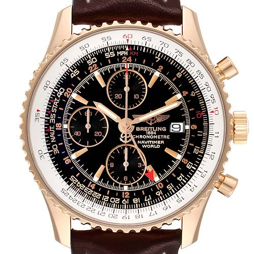 Photo of Breitling Navitimer World 18K Rose Gold Black Dial LE Watch H24322 Box Papers