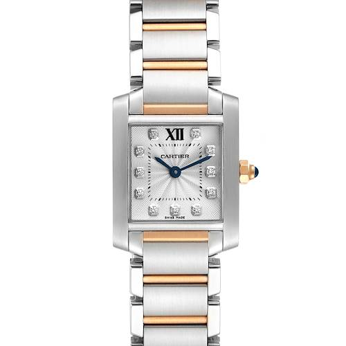 Photo of Cartier Tank Francaise Steel Rose Gold Diamond Ladies Watch WE110004 Box Card
