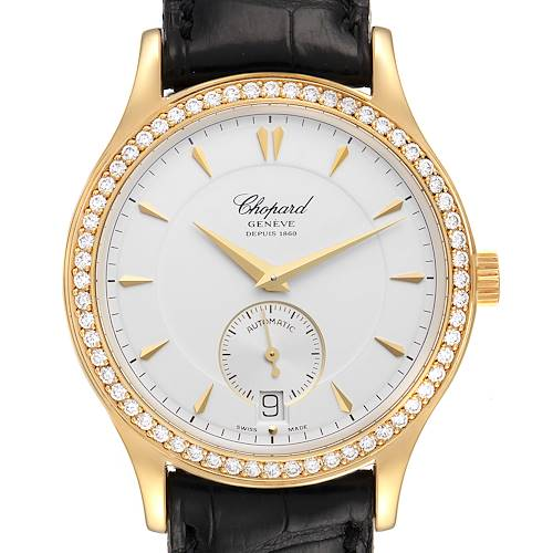 Photo of Chopard Classique Yellow Gold Silver Dial Diamond Mens Watch 1860