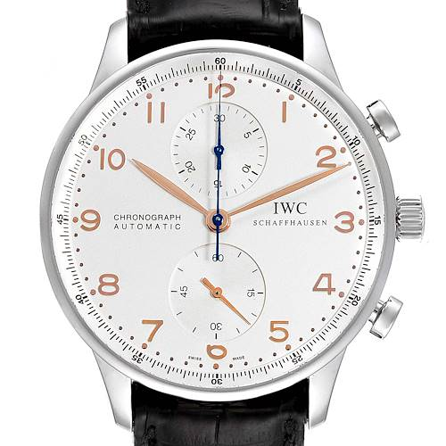Photo of IWC Portuguese Chronograph Silver Dial Steel Mens Watch IW371401 Box Card