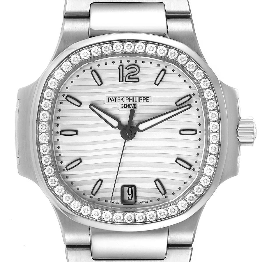 Patek Philippe Nautilus Silver Dial Diamond Steel Ladies Watch 7118 Box Papers SwissWatchExpo