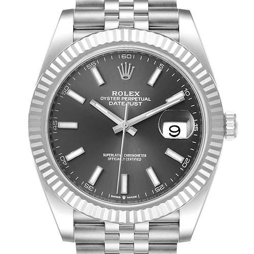 Photo of Rolex Datejust 41 Steel White Gold Rhodium Dial Mens Watch 126334 Box Card