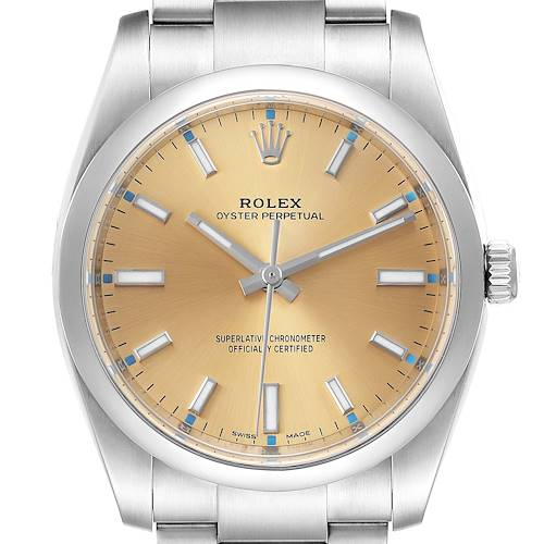 Photo of Rolex Oyster Perpetual 34mm White Grape Dial Steel Mens Watch 114200