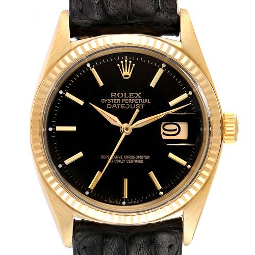 Photo of Rolex President Datejust 18k Yellow Gold Black Dial Vintage Mens Watch 1601