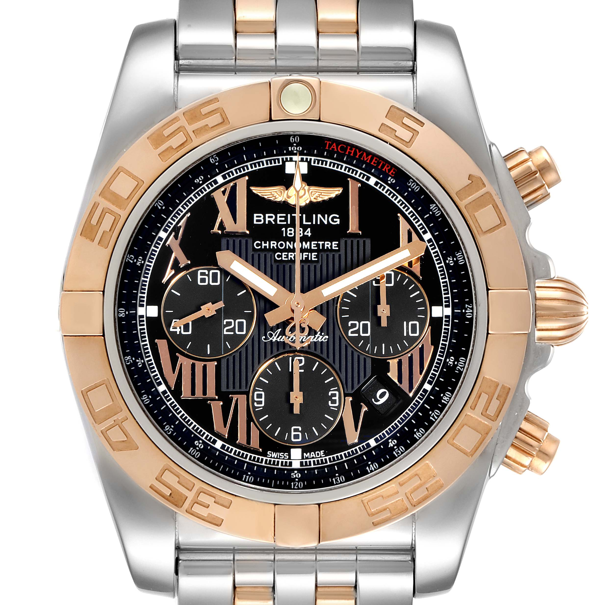Breitling Chronomat Evolution Black Dial Steel Rose Gold Mens Watch CB0110 SwissWatchExpo