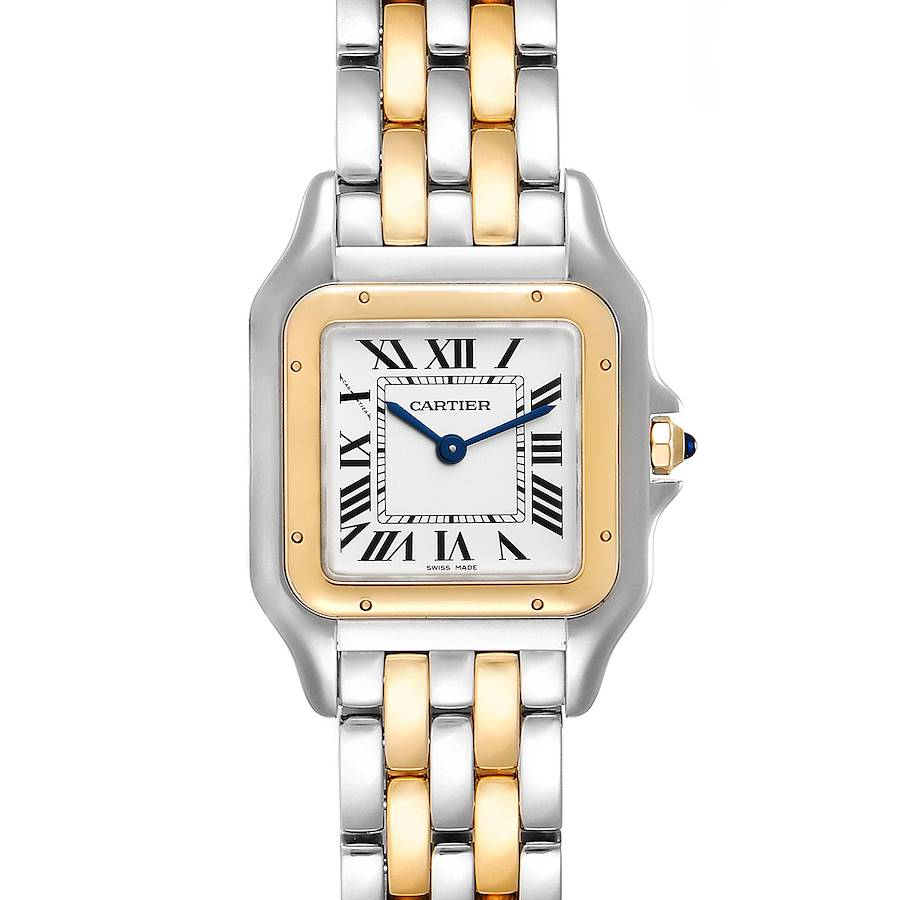 Cartier Panthere Ladies Steel Yellow Gold 2 Row Watch W2PN0007 Box Papers SwissWatchExpo