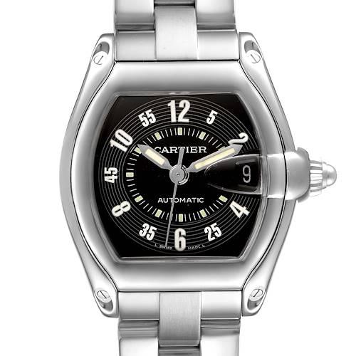 Photo of Cartier Roadster Black Arabic Dial Steel Mens Watch W62004V3