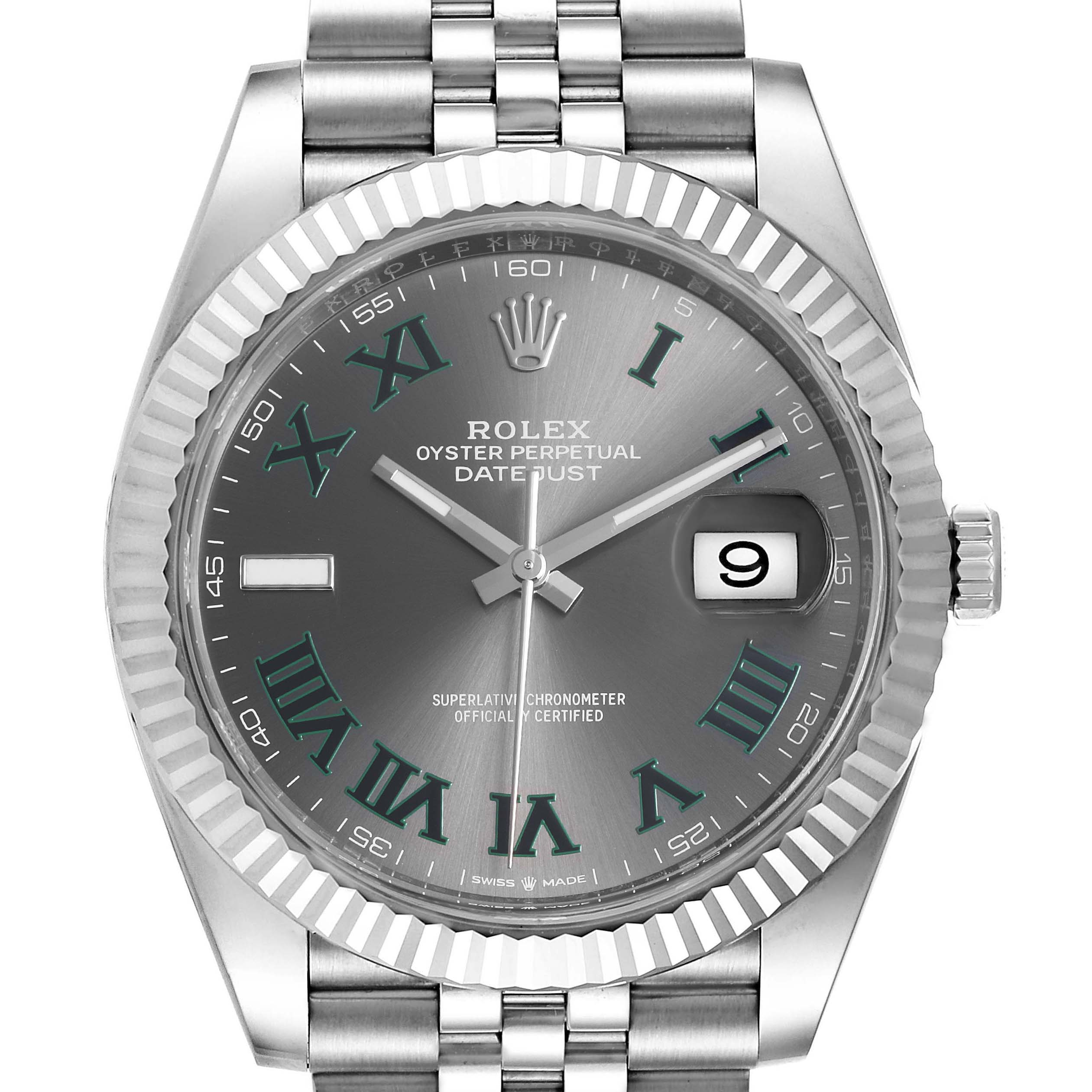 Photo of Rolex Datejust 41 Steel White Gold Green Numerals Mens Watch 126334 Box Card