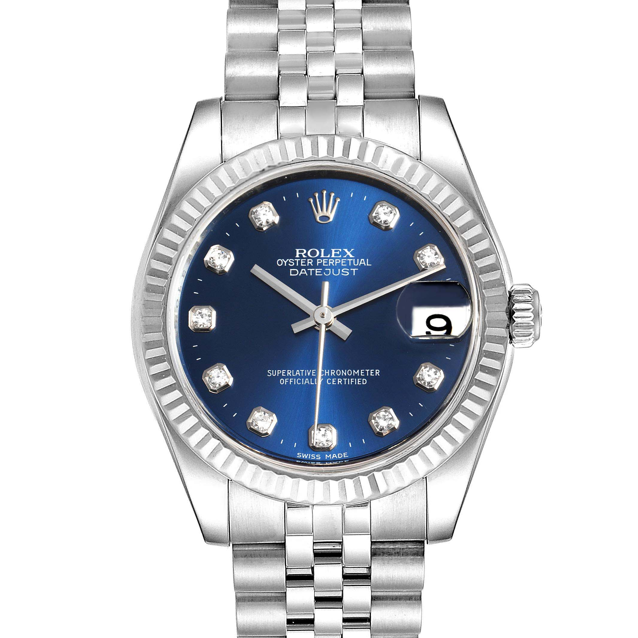 Photo of Rolex Datejust Midsize Steel White Gold Blue Diamond Dial Watch 178274