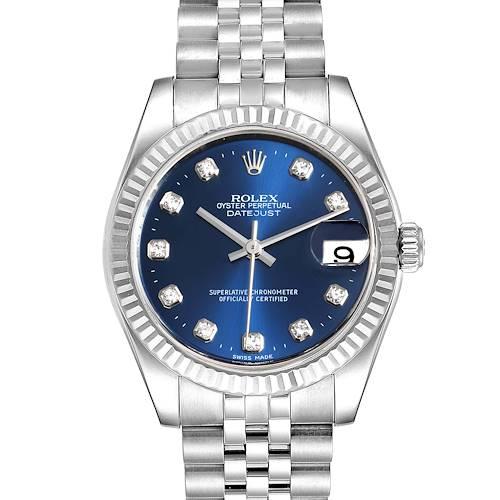 Photo of Rolex Datejust Midsize Steel White Gold Blue Diamond Dial Watch 178274