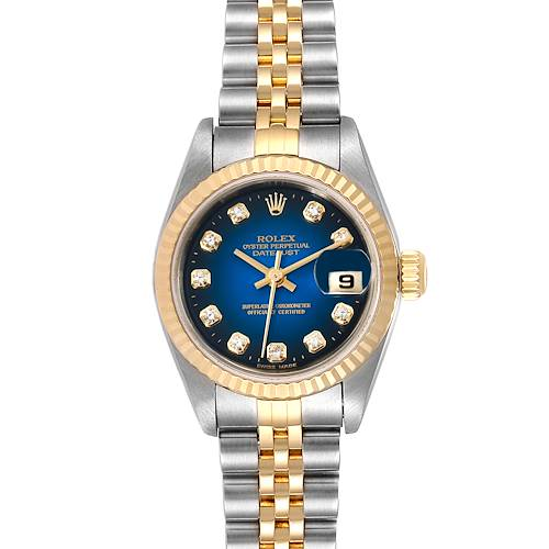 Photo of Rolex Datejust Steel 18K Yellow Gold Vignette Diamond Ladies Watch 79173