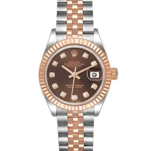 Photo of Rolex Datejust Steel Rose Gold Chocolate Diamond Dial Watch 279171 Unworn