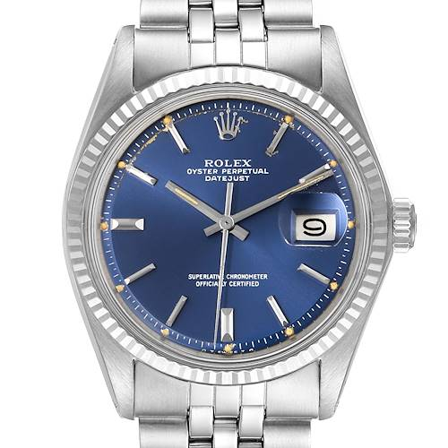 Photo of Rolex Datejust Steel White Gold Blue Sigma Dial Vintage Watch 1601