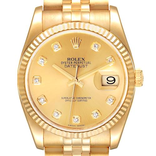 Photo of Rolex Datejust Yellow Gold Champagne Diamond Dial Mens Watch 116238