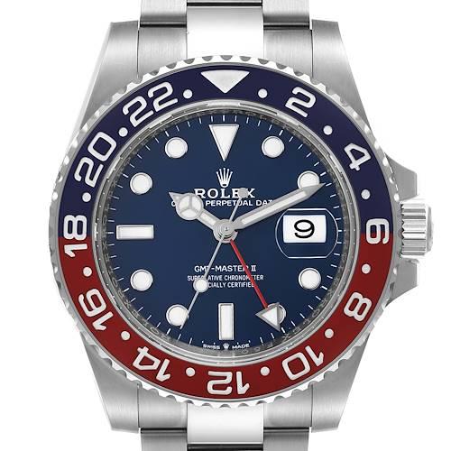 Photo of Rolex GMT Master II 18k White Gold Pepsi Bezel Blue Dial Mens Watch 126719