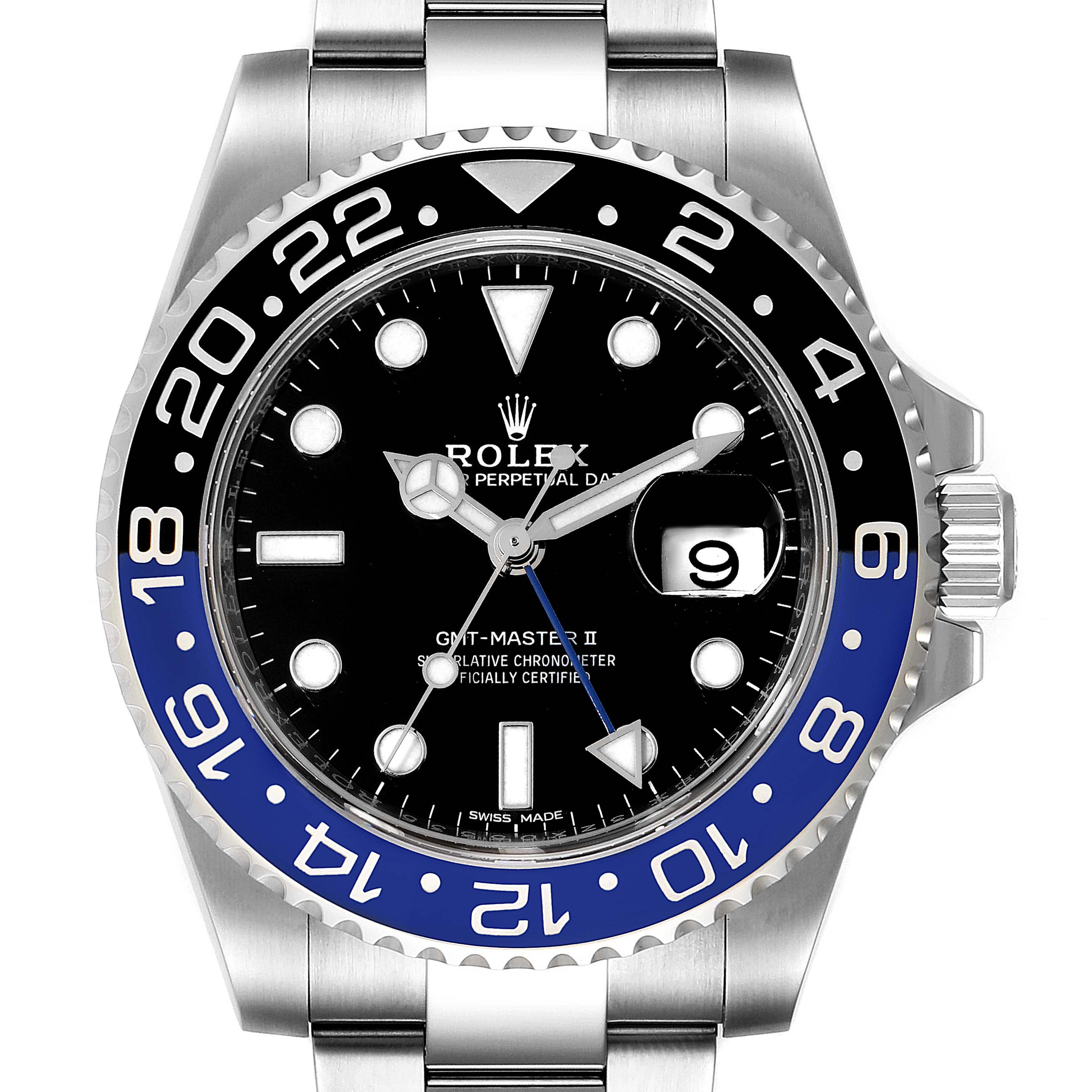 Photo of Rolex GMT Master II Batman Blue Black Bezel Steel Watch 116710 Box Card