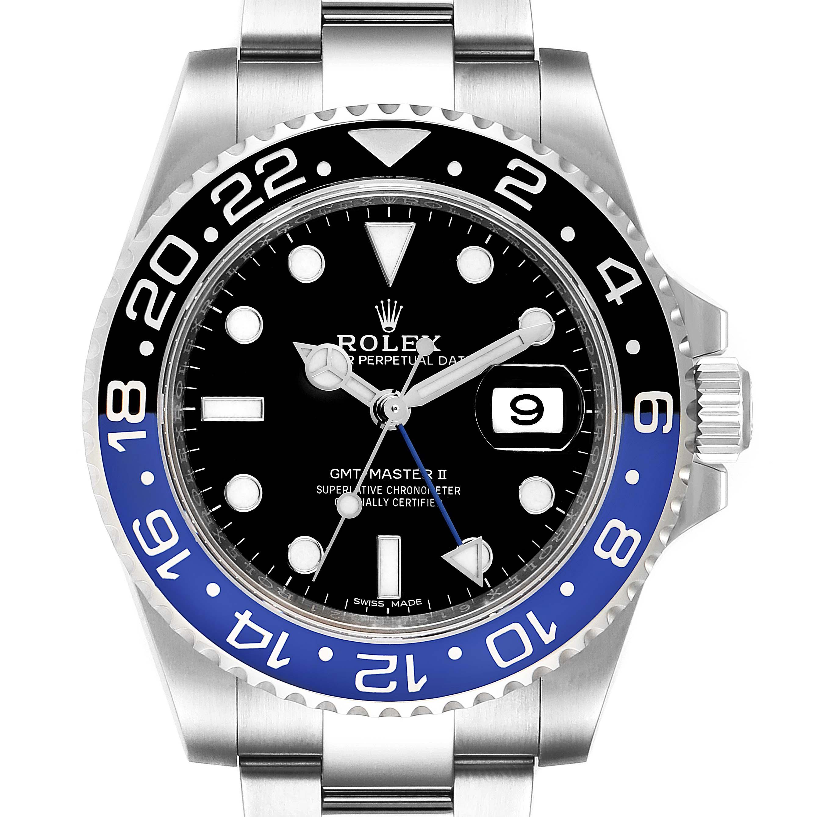 Rolex GMT Master II Batman Blue Black Bezel Steel Watch 116710 Unworn SwissWatchExpo