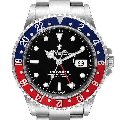 Photo of Rolex GMT Master II Pepsi Red and Blue Bezel Steel Watch 16710 Box Papers