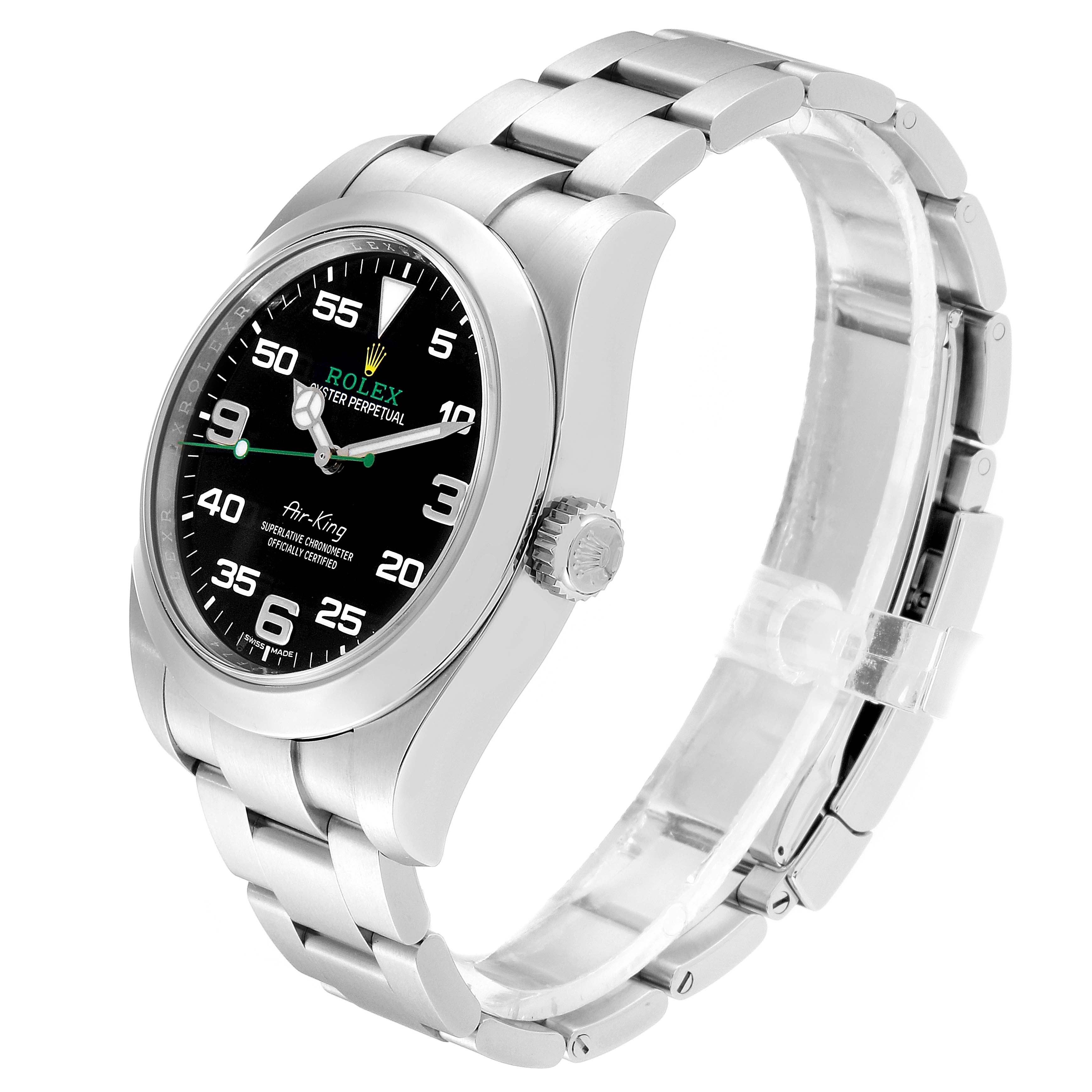 Rolex Oyster Perpetual Air King 40mm Green Hand Steel Mens Watch 116900 SwissWatchExpo