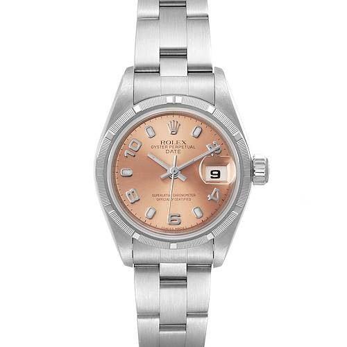 Photo of Rolex Oyster Perpetual Nondate Salmon Dial Steel Ladies Watch 69190 Box Papers