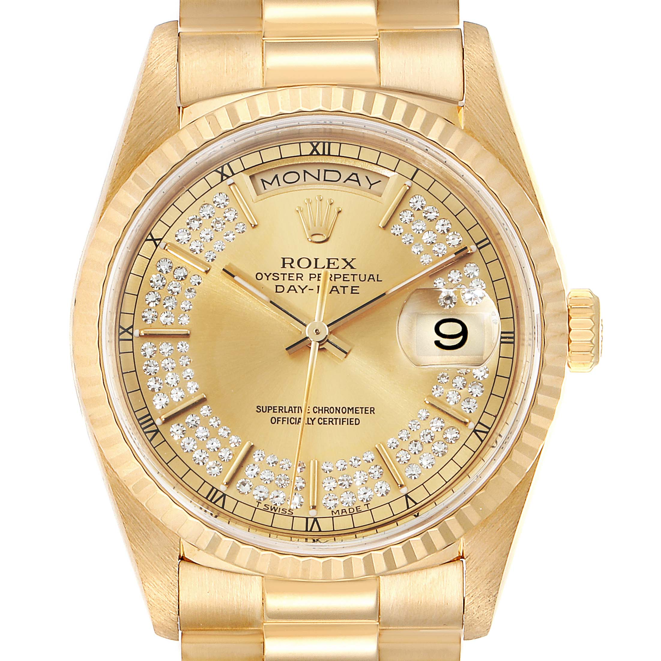 Photo of Rolex President Day-Date Yellow Gold String Diamond Dial Mens Watch 18238