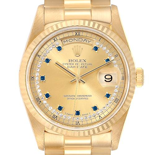 Rolex President Day-Date Yellow Gold String Diamond Sapphire Watch 18238