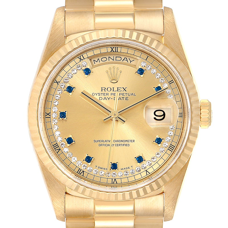 Rolex President Day-Date Yellow Gold String Diamond Sapphire Watch 18238 SwissWatchExpo