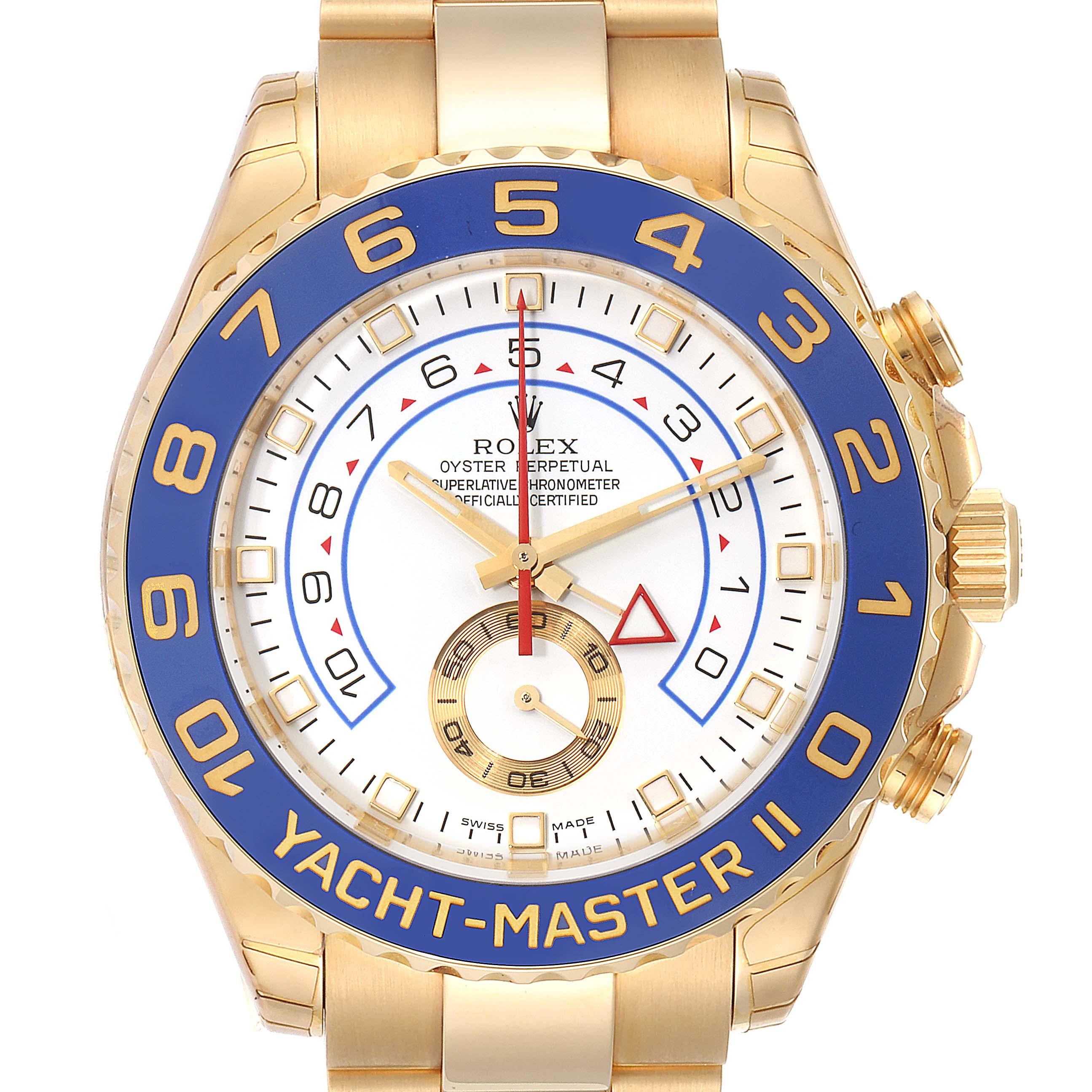 Photo of Rolex Yachtmaster II Regatta Chronograph Yellow Gold Watch 116688 Unworn