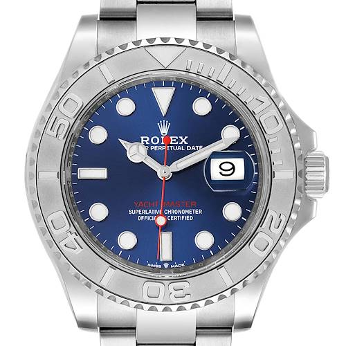 Photo of Rolex Yachtmaster Stainless Steel Platinum Blue Dial Watch 126622 Box Card