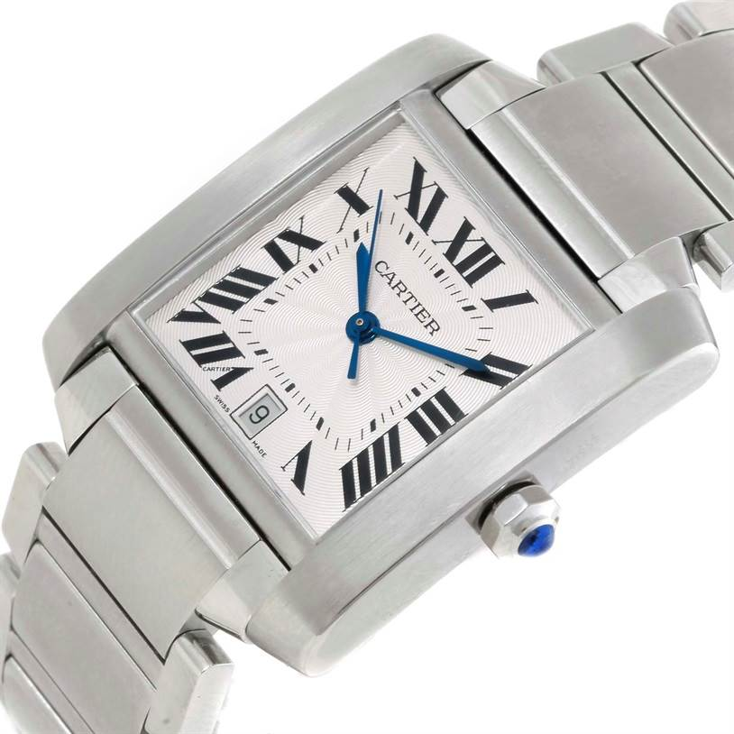 9765 Cartier Tank Francaise Large Stainless Steel Mens Watch W51002Q3 SwissWatchExpo
