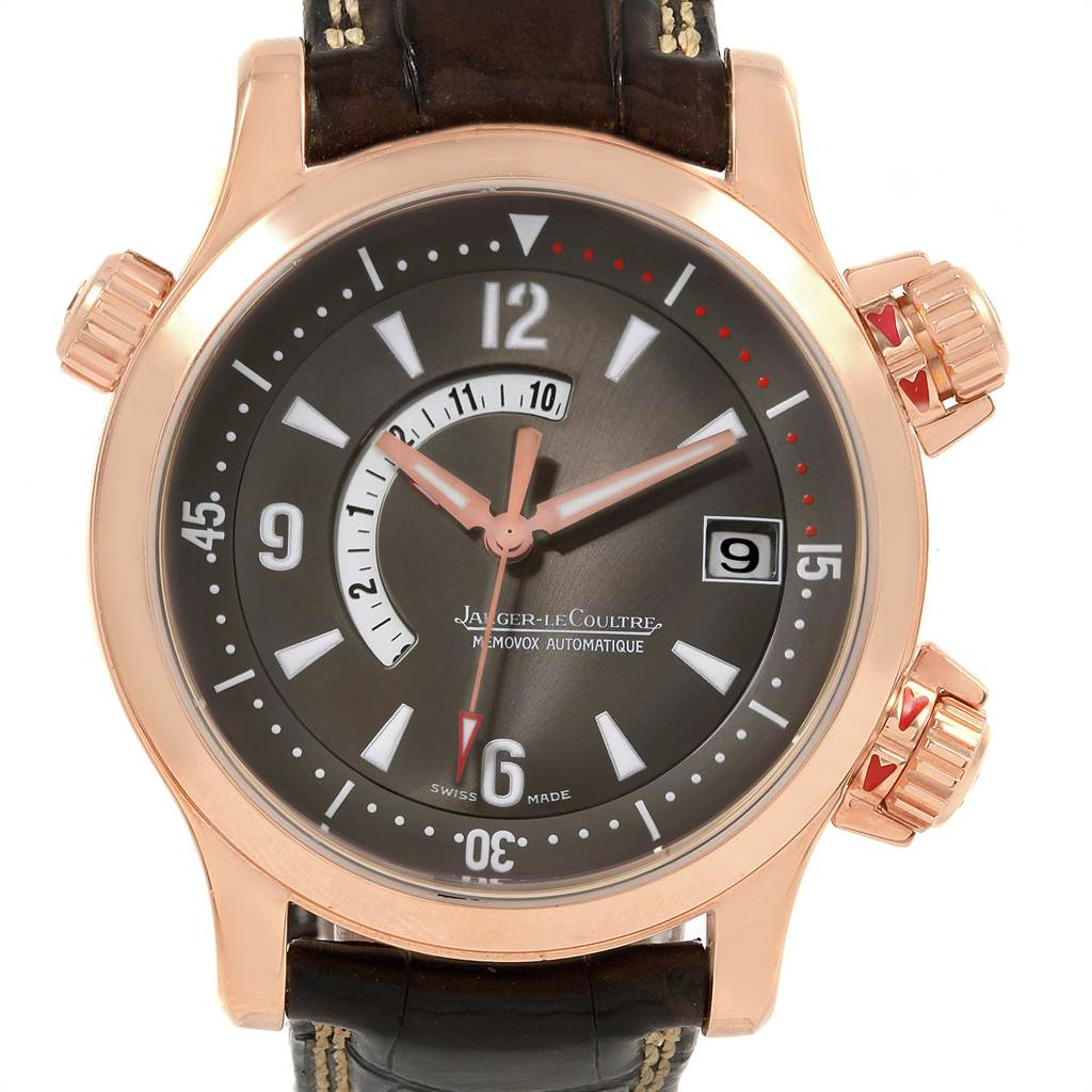 10821 Jaeger Lecoultre Master Compressor Memovox Rose Gold Watch 146.2.97 SwissWatchExpo