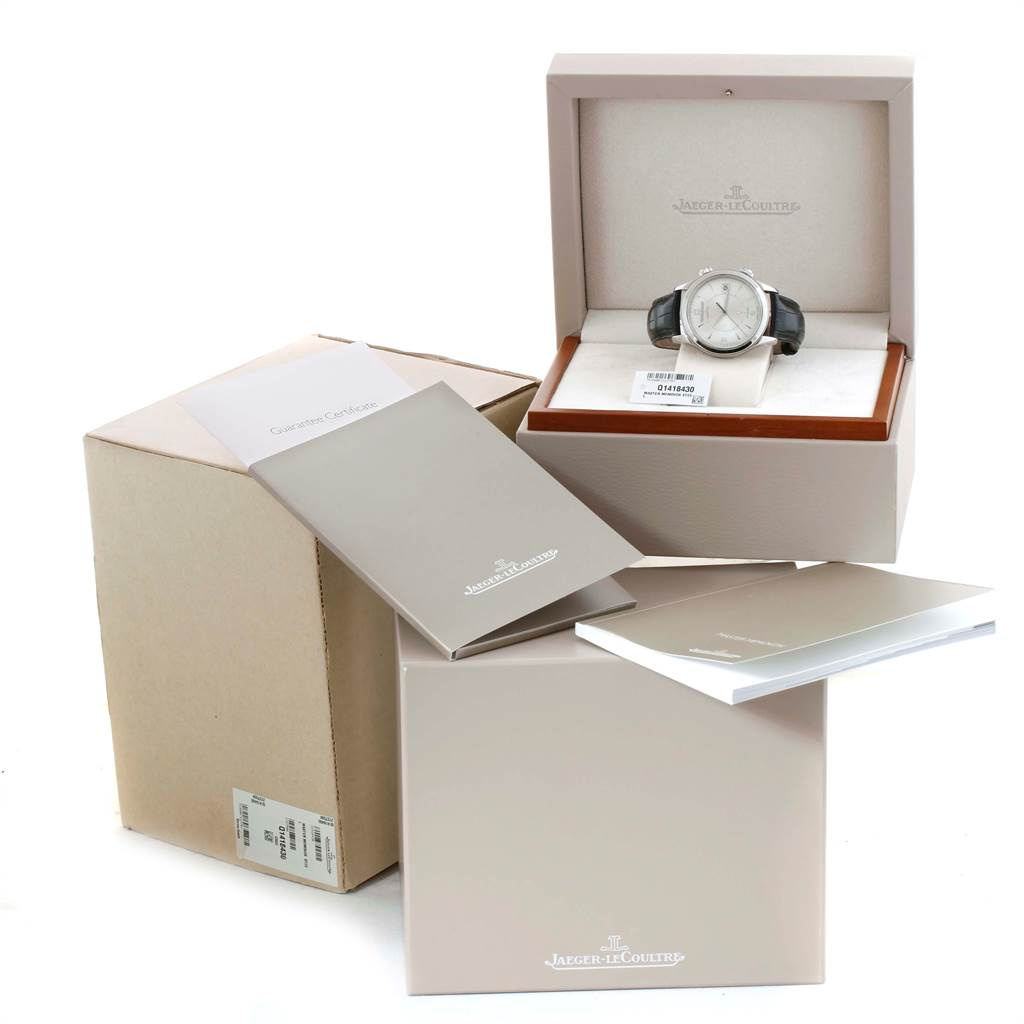 Jaeger Lecoultre Master Memovox Silver Dial Mens Watch 174.8.96 Q1418430 Box Papers SwissWatchExpo