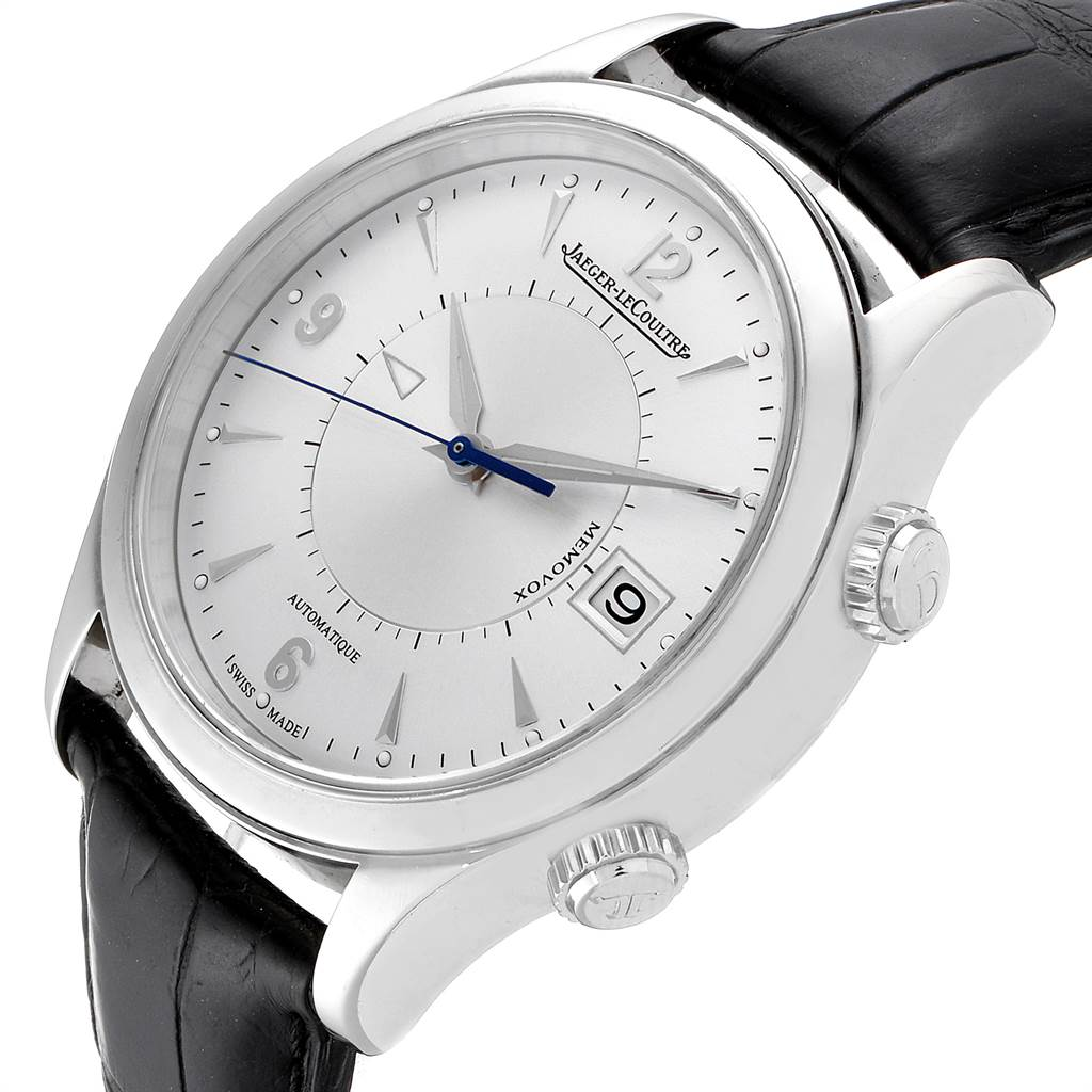 11540 Jaeger Lecoultre Master Memovox Silver Dial Mens Watch 174.8.96 Q1418430 Box Papers SwissWatchExpo